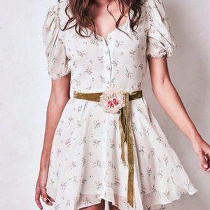 LoveShackFancy Floral Cora Silk Mini Dres Puff